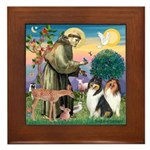 St Francis / Collie Pair Framed Tile