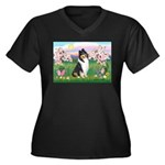 Blossoms / Collie (tri) Women's Plus Size V-Neck D