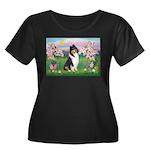 Blossoms / Collie (tri) Women's Plus Size Scoop Ne