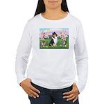 Blossoms / Collie (tri) Women's Long Sleeve T-Shir