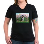 Blossoms / Collie (tri) Women's V-Neck Dark T-Shir