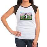 Blossoms / Collie (tri) Women's Cap Sleeve T-Shirt