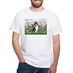 Blossoms / Collie (tri) White T-Shirt