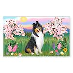 Blossoms / Collie (tri) Rectangle Sticker