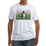 Blossoms / Collie (tri) Fitted T-Shirt