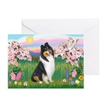 Blossoms / Collie (tri) Greeting Card