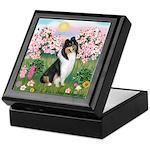 Blossoms / Collie (tri) Keepsake Box