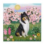 Blossoms / Collie (tri) Tile Coaster