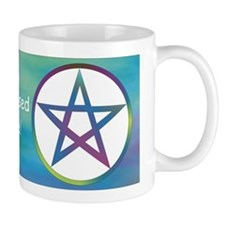 GrnBl Pentacle wb mug blessed be