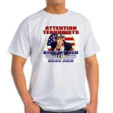"""Kiss My Ass"" Patriotic Uncle Sam Ash Grey T-Shirt"