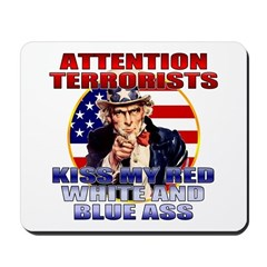 """Kiss My Ass"" Patriotic Uncle Sam Mousepad"