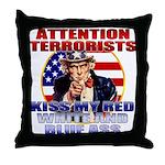 """Kiss My Ass"" Patriotic Uncle Sam Throw Pillow"