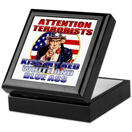 """Kiss My Ass"" Patriotic Uncle Sam Keepsake Box"