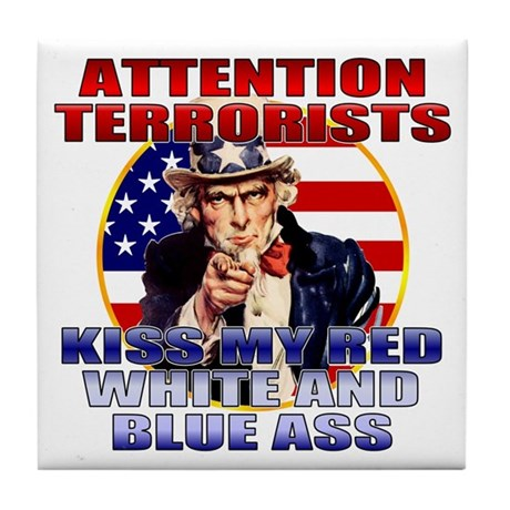 """Kiss My Ass"" Patriotic Uncle Sam Tile Coaster"