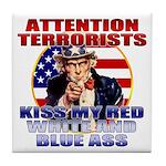 """Kiss My Ass"" Patriotic Uncle Sam Tile Coaster"