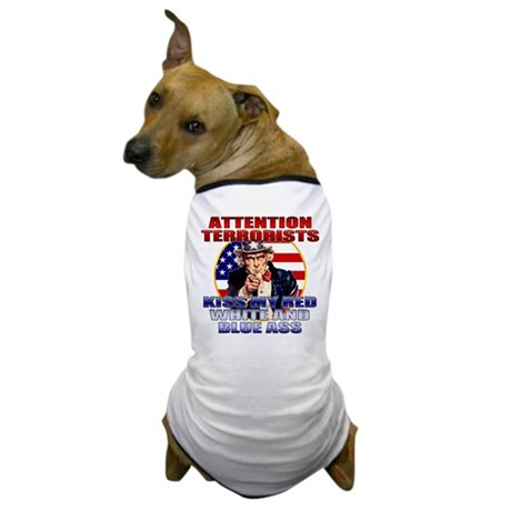 """Kiss My Ass"" Patriotic Uncle Sam Dog T-Shirt"