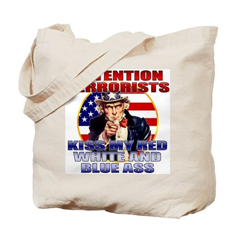 """Kiss My Ass"" Patriotic Uncle Sam Tote Bag"
