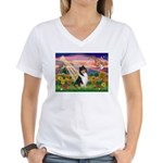 Autumn Angel/Collie Women's V-Neck T-Shirt