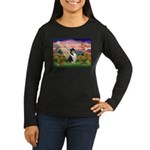 Autumn Angel/Collie Women's Long Sleeve Dark T-Shi