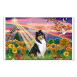 Autumn Angel/Collie Rectangle Sticker