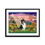 Autumn Angel/Collie Framed Panel Print