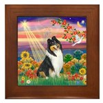 Autumn Angel/Collie Framed Tile
