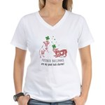 Frenchie Good Luck (PINK) Women's V-Neck T-Shirt