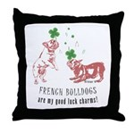 Frenchie Good Luck (PINK) Throw Pillow