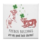 Frenchie Good Luck (PINK) Tile Coaster