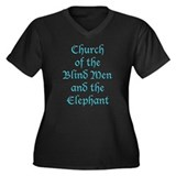 Blind Men Church Women's Plus Size V-Neck Dark T-S