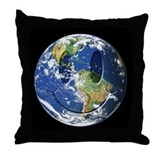 Earth Smiley Throw Pillow