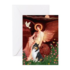 Seated Angel / Collie (tri) Greeting Cards (Pk of