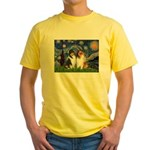 Starry Night / Collie pair Yellow T-Shirt