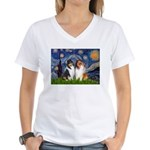 Starry Night / Collie pair Women's V-Neck T-Shirt