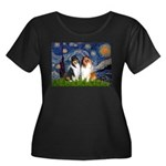 Starry Night / Collie pair Women's Plus Size Scoop