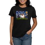 Starry Night / Collie pair Women's Dark T-Shirt