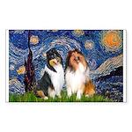 Starry Night / Collie pair Sticker (Rectangle)