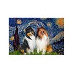 Starry Night / Collie pair Rectangle Magnet (10 pa