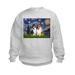 Starry Night / Collie pair Kids Sweatshirt