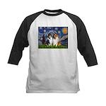 Starry Night / Collie pair Kids Baseball Jersey