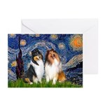Starry Night / Collie pair Greeting Cards (Pk of 2