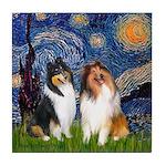 Starry Night / Collie pair Tile Coaster