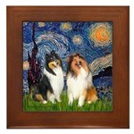 Starry Night / Collie pair Framed Tile