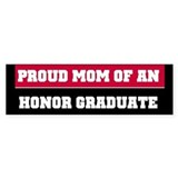 Red Proud Honor Grad Mom Bumper Car Sticker