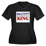 BRAYDEN for king Women's Plus Size V-Neck Dark T-S