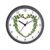 Shamrock Heart Wreath Wall Clock
