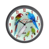 I love Parrots Wall Clock