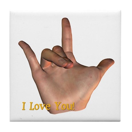 &quot;I Love You&quot; Hand Tile Coaster