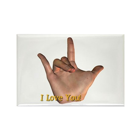 &quot;I Love You&quot; Hand Rectangle Magnet
