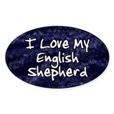 Funky Love English Shepherd Oval Decal